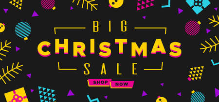 Christmas Sale banner in the style of the 80s with multicolored balls, fir branches and gifts. Illustration in Memphis style