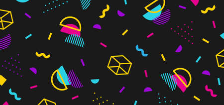 Background in the style of the 80s with multicolored geometric shapes on the black background. Illustration for hipsters Memphis style
