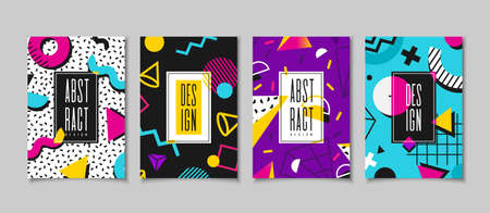 Set cards in the style of the 80s with multicolored geometric shapes. Illustration for hipsters Memphis style 向量圖像