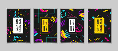 Set cards in the style of the 80s with multicolored geometric shapes on the black background. Illustration for hipsters Memphis style Иллюстрация