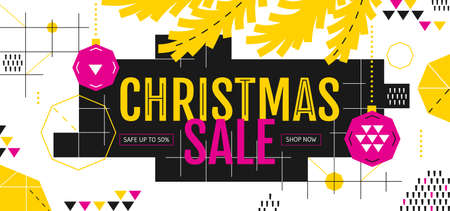 Christmas Sale banner in the style of the 80s with geometric shapes, pink balls and fir branches. Vector illustration in Memphis style