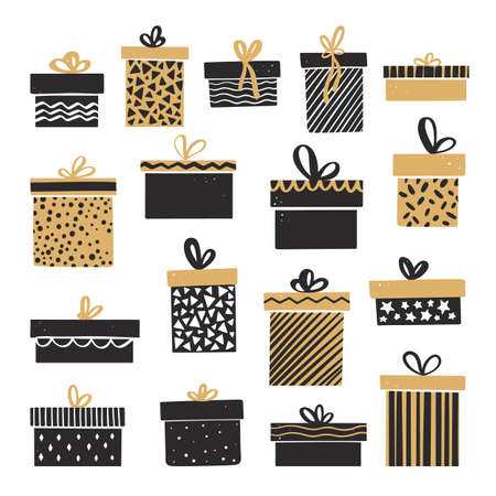 Set of Christmas gift boxes with bows. Vector illustration in hand drawn style Иллюстрация