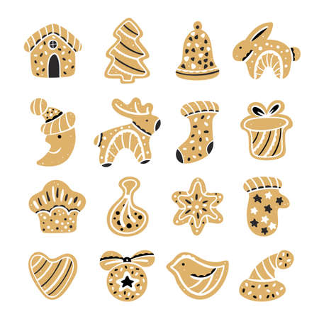 Set of Christmas gingerbread. Sweet cookies in the shape of a star, snowflake, horse, house, mittens, bell and heart. Vector illustration in cartoon style
