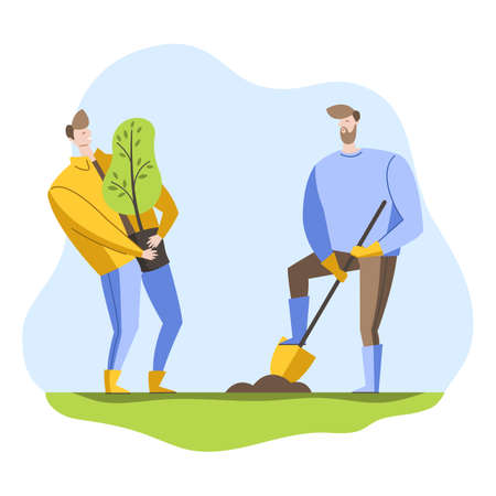 Volunteers plant a tree in the Park. Young people care about the environment. Vector illustration in a flat style