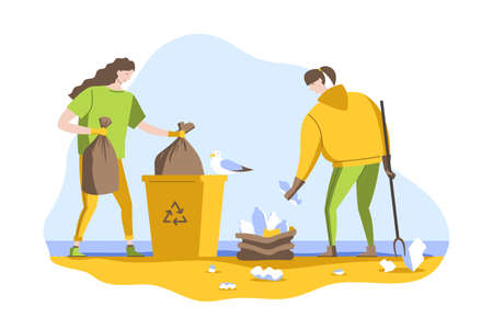 Volunteers clean up waste on the ocean coast. People collect garbage in bags on the beach. Vector illustration in a flat style