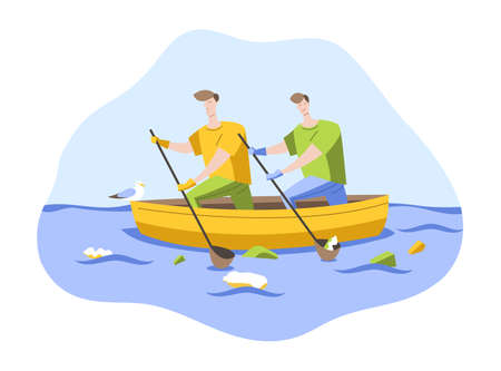 Volunteers on a boat clean up garbage in the ocean. Vector illustration in a flat style Иллюстрация