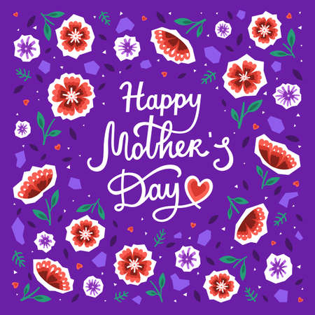 Happy Mothers day greeting card with hearts, red and purple flowers. Vector illustration in a modern style