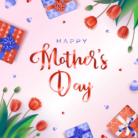 Happy Mothers day greeting card with red tulips, hearts, and gifts on a pink background. Vector illustration in a modern style Иллюстрация