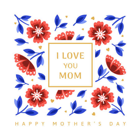 Happy Mothers day greeting card with gold hearts and red flowers. Vector illustration in a modern style Иллюстрация