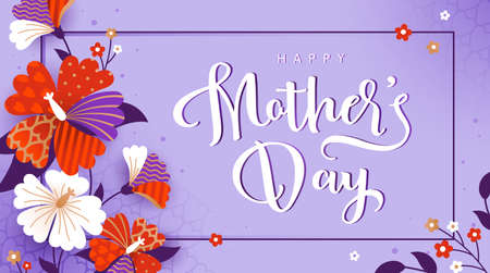 Happy Mothers day greeting card with white and red flowers. Vector illustration in a modern style