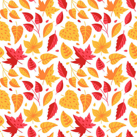Seamless pattern with red and orange autumn leaves. Unique design for gift paper, fill drawings, background web pages, autumn greeting cards.