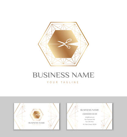 The logo and business card for Atelier, fashion designer or studio sewing and tailoring. Gold polygon with with scissors