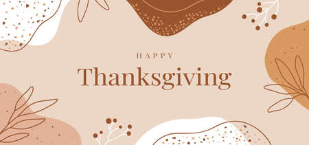 Happy Thanksgiving Day - holiday Background with abstract leaves and spots with terrazzo texture