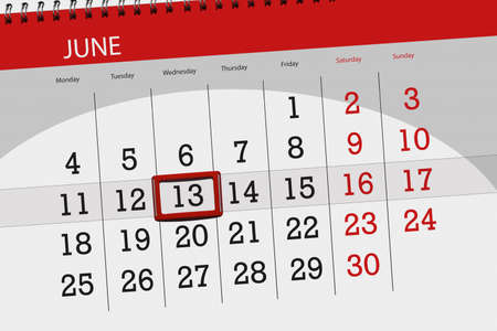 Calendar planner for month, deadline day of the week, wednesday, 2018 june 13 Фото со стока