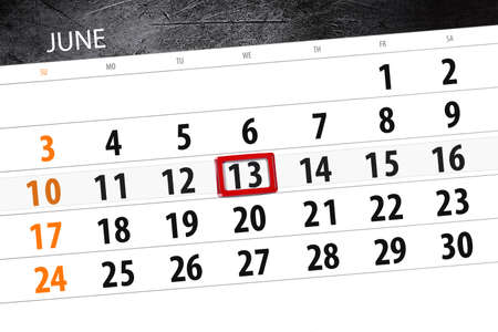 Calendar planner for the month, deadline day of the week, wednesday 2018 june 13 Фото со стока