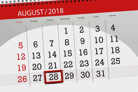 Calendar planner for the month, deadline day of the week 2018 august, 28, Tuesday Фото со стока