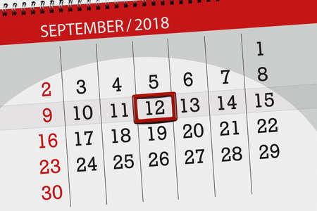 Calendar planner for the month, deadline day of the week 2018 september, 12, Wednesday 写真素材
