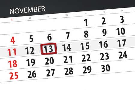 Calendar planner for the month, deadline day of week 2018 november, 13, Tuesday