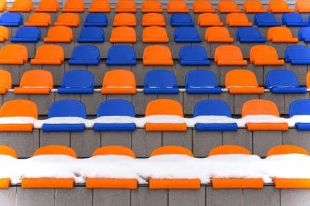 Blue Orange Empty Snow Stadium Stands