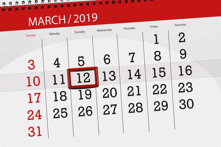 Calendar planner for  month march 2019, deadline day, 12 tuesday