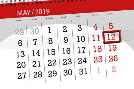 Calendar planner for the month may 2019, deadline day, 12 sunday.