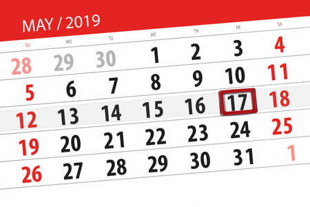 Calendar planner for the month may 2019, deadline day, 17 friday. Stock Photo