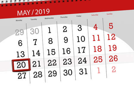 Calendar planner for the month may 2019, deadline day, 20 monday.