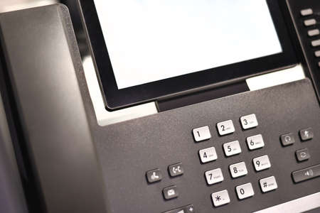 Office business phone for video conferencing, mockup.