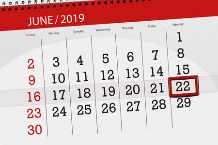 Calendar planner for the month june 2019, deadline day, 22, saturday.
