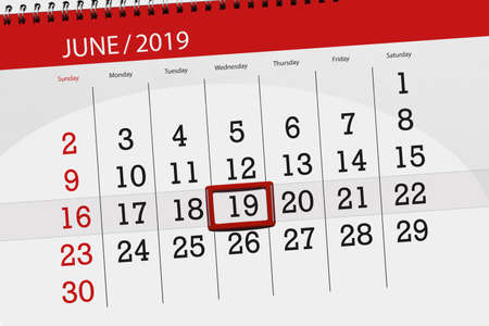 Calendar planner for the month june 2019, deadline day, 19, wednesday.