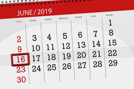 Calendar planner for the month june 2019, deadline day, 16, sunday.