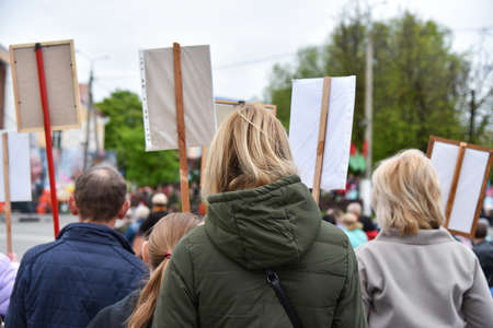 Silent protest action in Belarus, demonstration with posters.