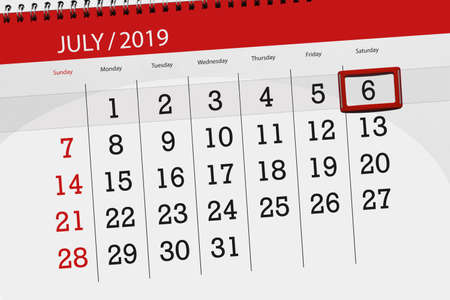 Calendar planner for the month july 2019, deadline day, 6 saturday. Фото со стока - 124212883