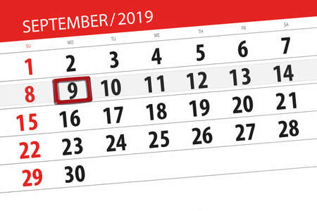 Calendar planner for the month september 2019, deadline day, 9, monday. Zdjęcie Seryjne - 129304797