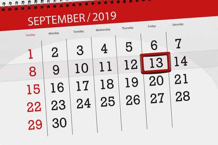 Calendar planner for the month september 2019, deadline day, 13, friday. Zdjęcie Seryjne - 129304812