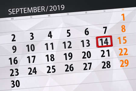 Calendar planner for the month september 2019, deadline day, 14, saturday. Zdjęcie Seryjne - 129304817