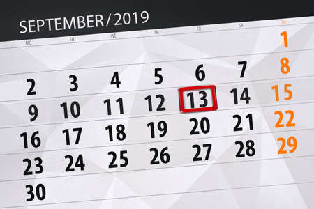 Calendar planner for the month september 2019, deadline day, 13, friday. Zdjęcie Seryjne - 129304360