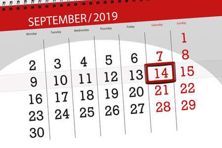 Calendar planner for the month september 2019, deadline day, 14, saturday. Zdjęcie Seryjne - 129304344