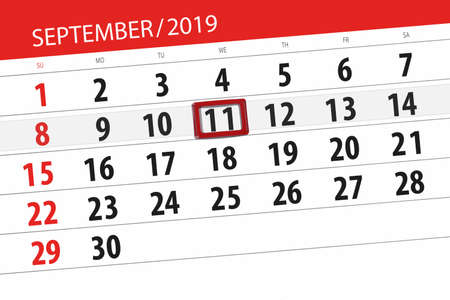Calendar planner for the month september 2019, deadline day, 11, wednesday. Zdjęcie Seryjne - 129304337