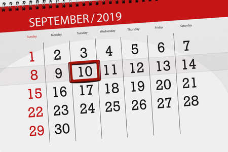 Calendar planner for the month september 2019, deadline day, 10, tuesday. Zdjęcie Seryjne - 129304417