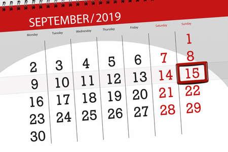 Calendar planner for the month september 2019, deadline day, 15, sunday. Zdjęcie Seryjne - 129304414