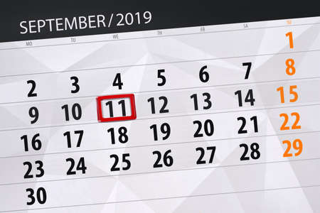 Calendar planner for the month september 2019, deadline day, 11, wednesday. Zdjęcie Seryjne - 129304454