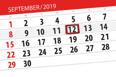 Calendar planner for the month september 2019, deadline day, 12, thursday. Zdjęcie Seryjne - 129304445