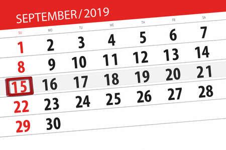 Calendar planner for the month september 2019, deadline day, 15, sunday. Zdjęcie Seryjne - 129303798