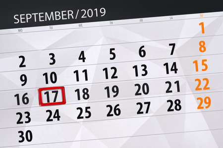 Calendar planner for the month september 2019, deadline day, 17, tuesday. Zdjęcie Seryjne - 129303541