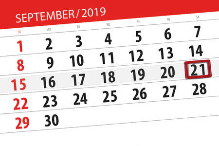 Calendar planner for the month september 2019, deadline day, 21, saturday. Zdjęcie Seryjne - 129303560
