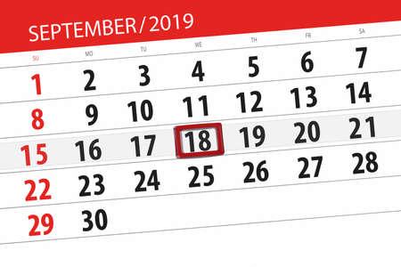 Calendar planner for the month september 2019, deadline day, 18, wednesday. Zdjęcie Seryjne - 129303558