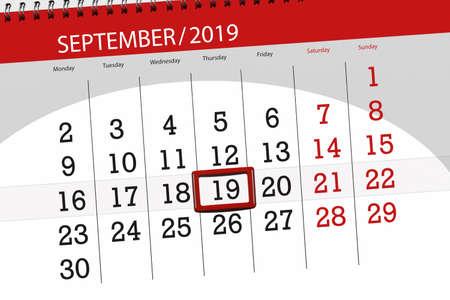 Calendar planner for the month september 2019, deadline day, 19, thursday. Zdjęcie Seryjne - 129303561