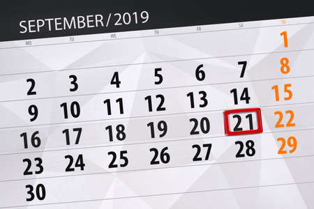 Calendar planner for the month september 2019, deadline day, 21, saturday. Фото со стока - 129303569