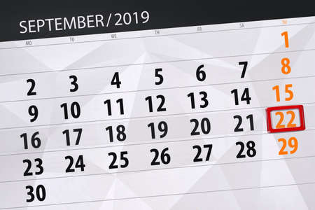 Calendar planner for the month september 2019, deadline day, 22, sunday. Zdjęcie Seryjne - 129303601